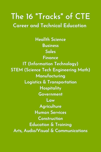 "The 16 ""tracks"" of career and technical education also known as CTE"