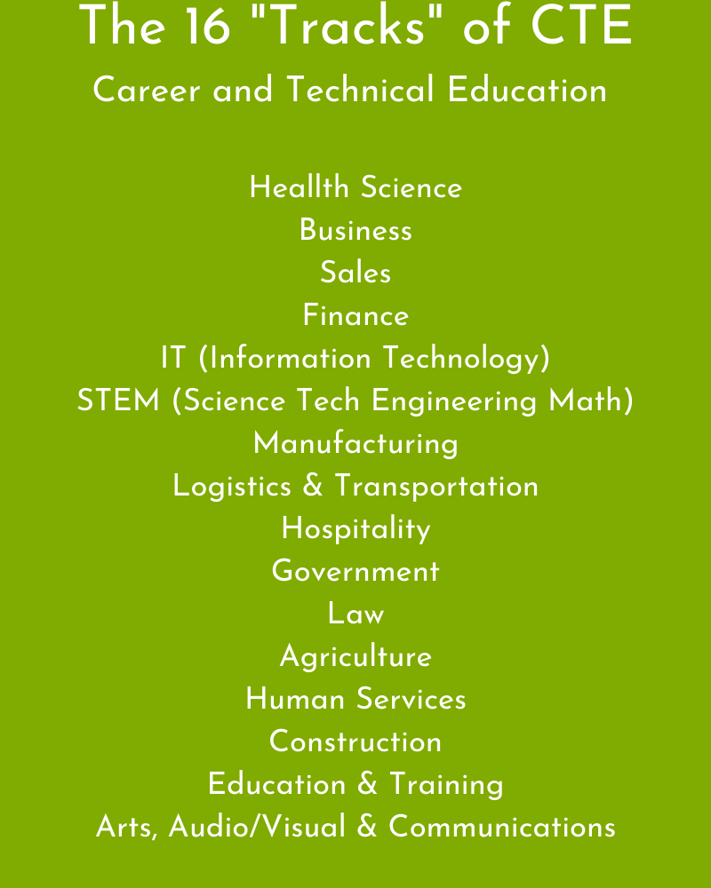 "Infographic of the 16 ""tracks"" of Career and Technical Education courses, also known as CTE"
